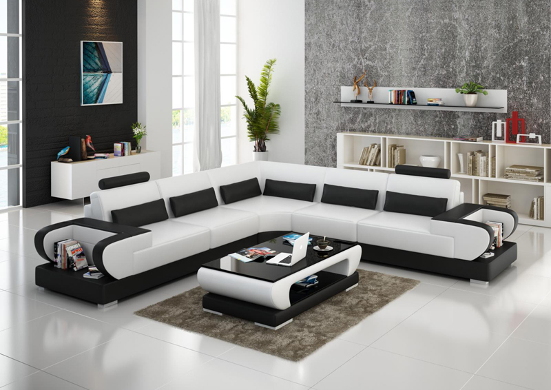 G8003b White Black1 New Model Living Room Leather Sofa G8010