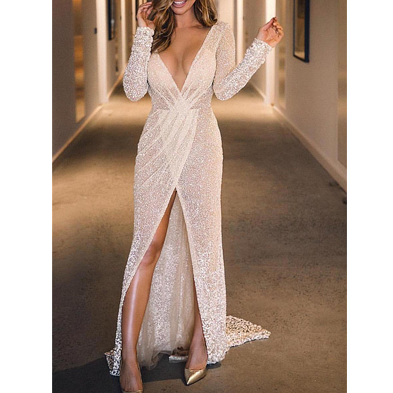 Vestidos De Gala Sexy Sparkly V Neck   Prom     Dresses   Long 2019 Elegant Long Sleeve Formal Party Evening Gowns Gala Jurken