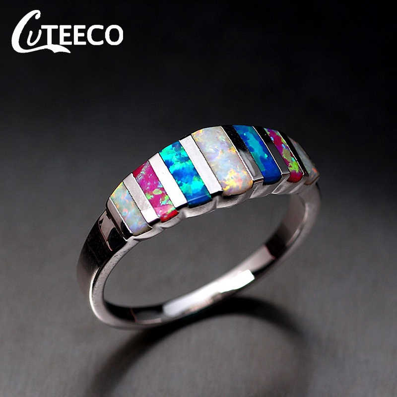 CUTEECO Geometric Opal Wedding Rings for Women 2018 Hot Sale Silver Color Female Finger Rings for Ladys Charm Jewelry Gifts