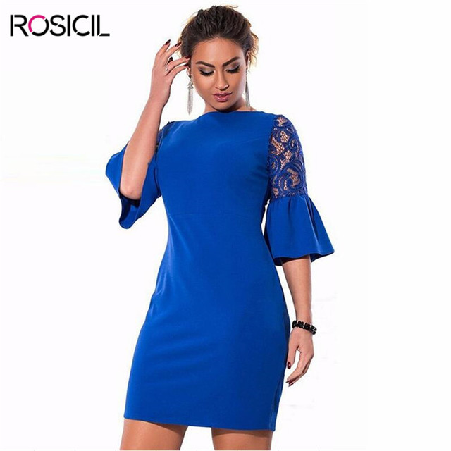 Spring Girl Plus Size Flare Sleeve Dress Women Casual Office Dresses