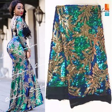 Green And Gold Sequined African French Mesh Net Lace Fabric For India Evening Party Dress Fabrics 2017 New Nigeria Sequins Voile