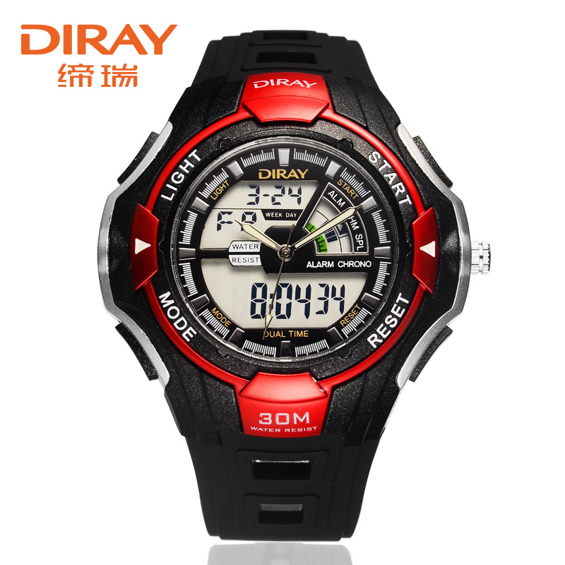 relogio masculino 2019 Brand DIRAY Dual Display Watch Men Watch Silicone Sport Watches LED Digital Watches Alarm Repeater Hour