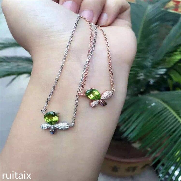 KJJEAXCMY boutique bijoux S925 pur argent incrusté bowknot naturel olivine pendentif chaîne claviculaire