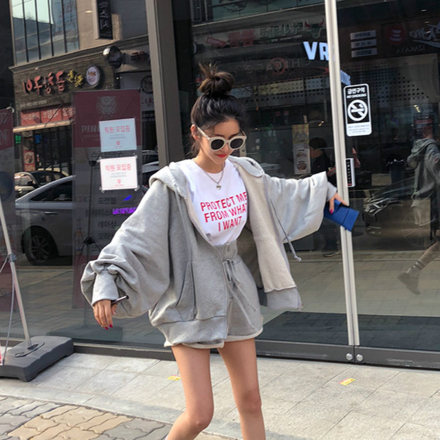 Women Autumn Cotton Solid 2two Piece Set Outfits Female Hooded Zipper Puff Sleeve Long Sweatshirts with Wide Leg Short Pants 2
