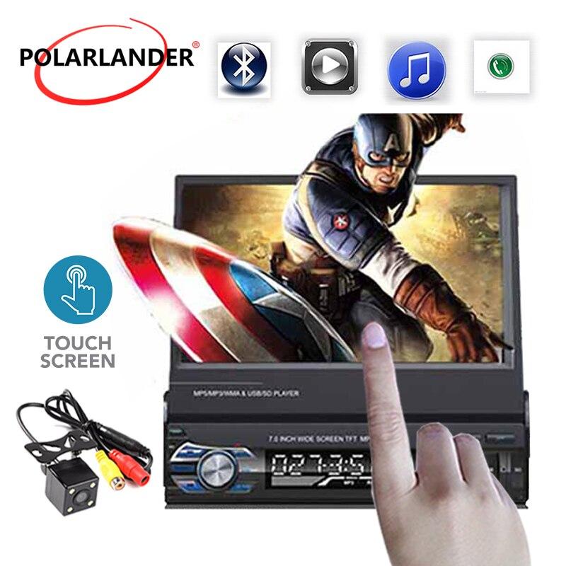 1 Din voiture mp4 mp5 lecteur stéréo vidéo autoradio 7 'hd écran rétractable tactile miroir lien autoradio lecteur de cassette