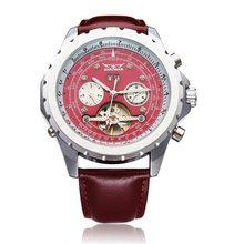JARAGAR Brand Luxury Automatic Mechanical Tourbillon PU Leather Red Men Wrist Watch Calendar Men s Watches