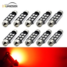 цена на 10x 36/39/41mm LED Festoon Bulb Canbus Error Free Red No-polar 12-24V Use for Dome Map Door Interior Door Truck Glove box light