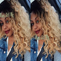 Cheap High Quality Dark Roots Ombre Blonde Loose Curly Synthetic Lace Front Wig Glueless Heat Resistant Fiber For Black Women