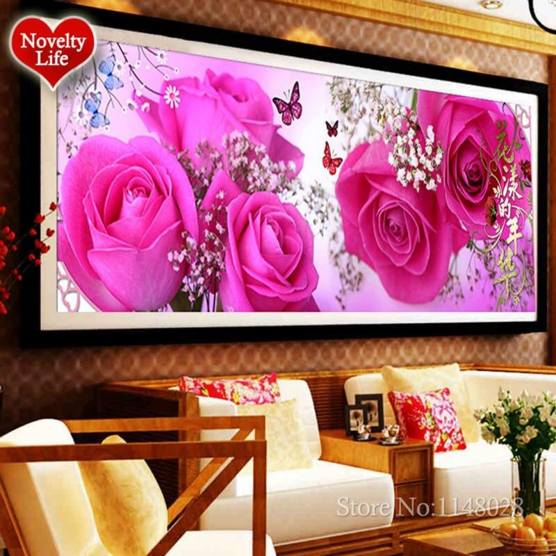 DIY 5D Diamantová malba Cross Stitch Flower FLORAL TIMES Výšivka vzor Kolo drahokamu Sady Needlwork Kity Home dekorace