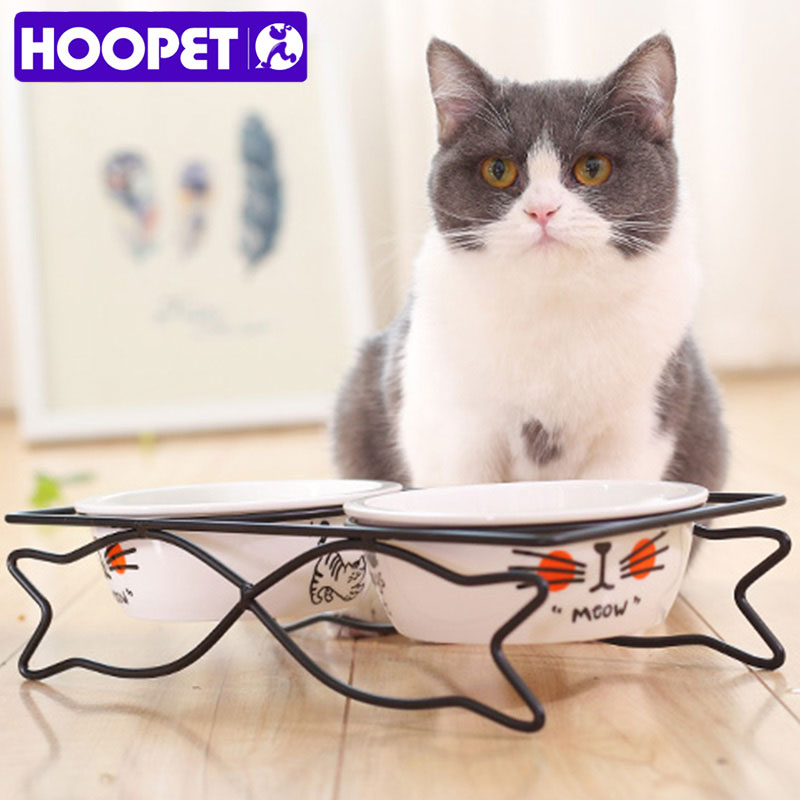 Hoopet Pet Dog Cat Lovely Food Water Ceramic Bowl Two Bowls With Steel Frame