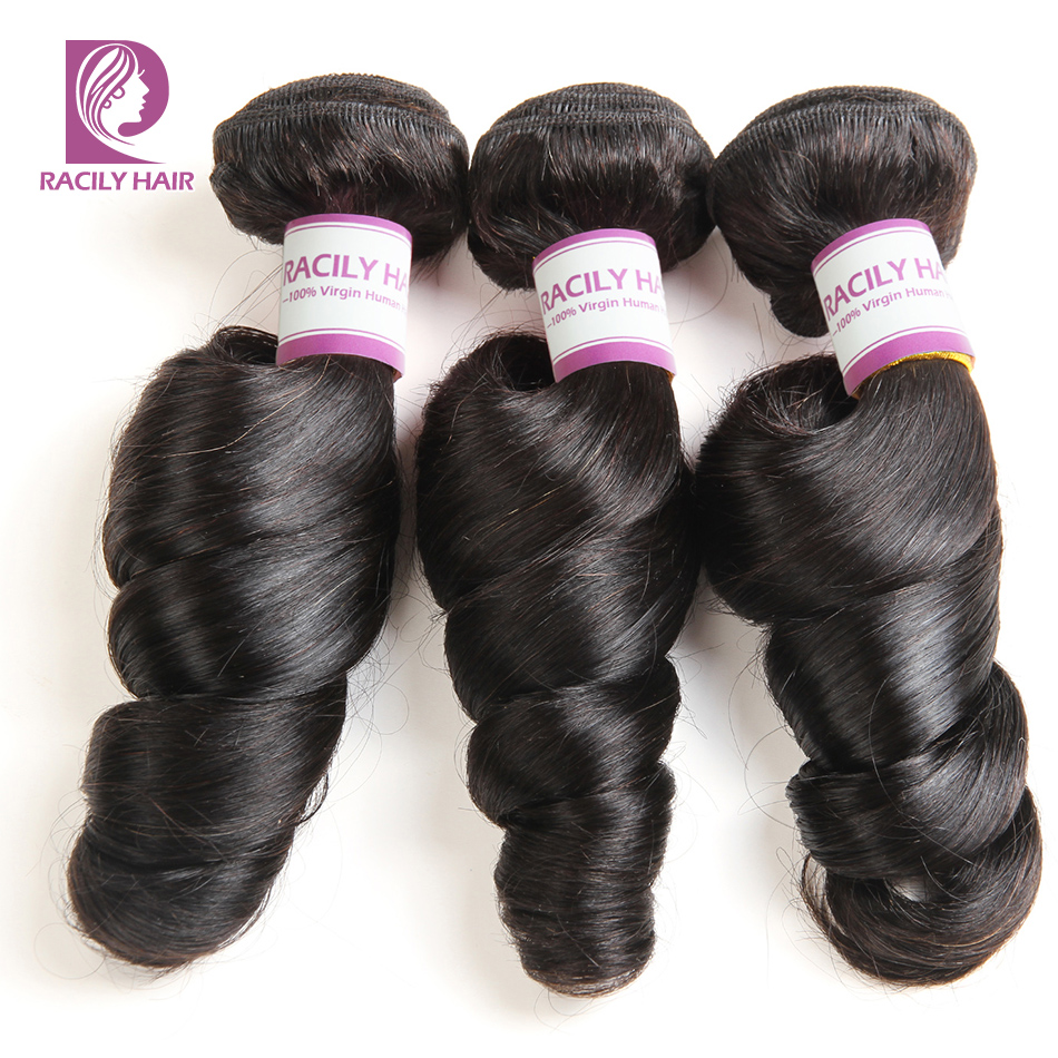 Racily Hair Brazilian Loose Wave Bundles Natural Black Color 1B Remy Extensions Human Hair Weave Bundles 1/3/4pcs/Lot 10-28 Inch