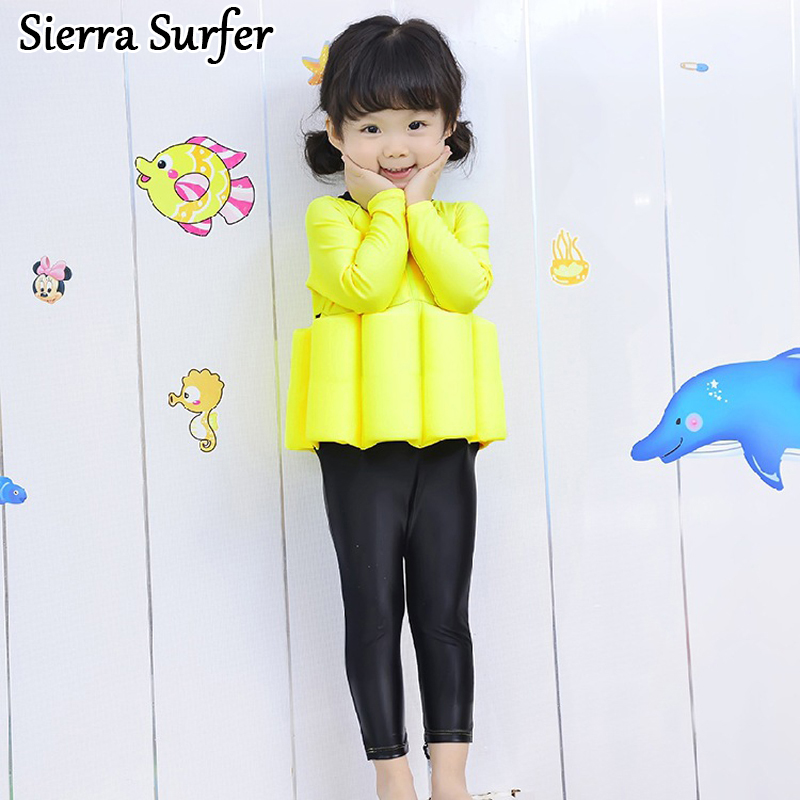 One Piece Swimsuit Children's Swimwear Girl Children Swimming Suits For Girls Baby Swim Wear Kids 2018 New Buoyancy Long Sleeve