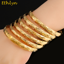 Ethlyn 6pcs/lot Fashion Costume Party Jewelry Accessories Dubai Gold Color Women Wedding Jewelry Bangles & Bracelets  B036