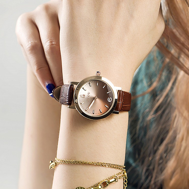 2016 Newly Simple Design Ladies Luxury Quartz Watch Women Gradient Color Dial Wristwatch Female Fashion Watches relogio feminino