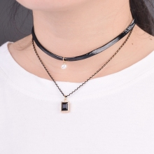 New Product 2 Layer Gothic Black Leather Choker Black Chain Square Perfume Pendant Necklace Colar Vintage Choker Necklace Women