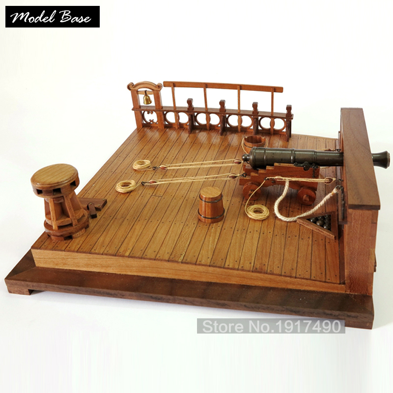 Wooden Models Kits 3d Laser Cut Train Hobby Model Ancient Battleship Deck 8 Lbs Cannon Scenescale Model 1/26 size 220*220* 69mm