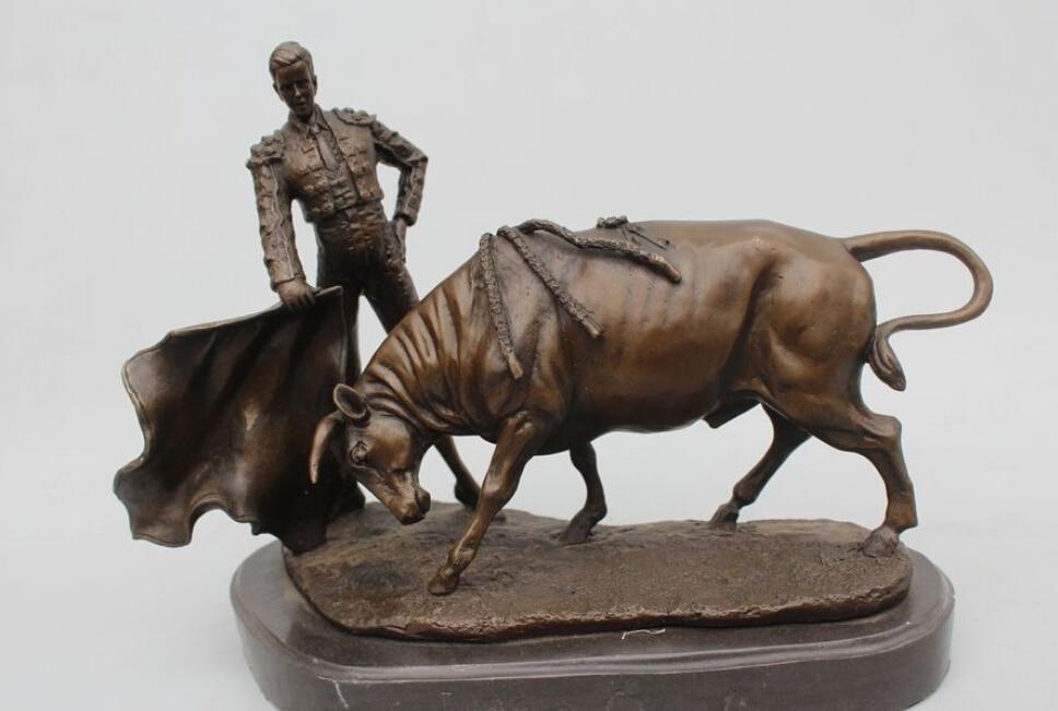 12Western Art sculptur Pure Bronze Marble Famous Spain Matador Bull Statue R0715 B0403
