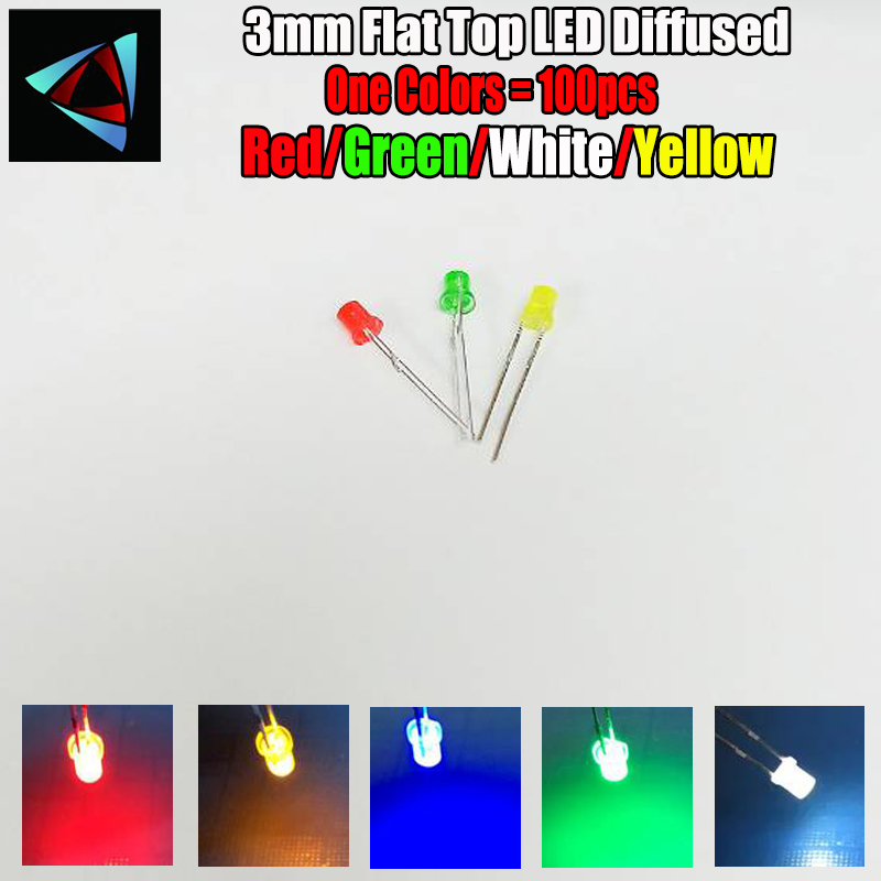 3mm Flat top Flangeless Red Yellow Blue Green White Warm Led Clear Leds Long Pin