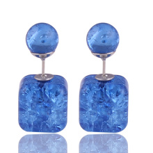 11 Colors New Arrival Natural Stone Crack Double Sides Pearl Earrings Square Pattern Double Ball Beads Earrings For Women Gift