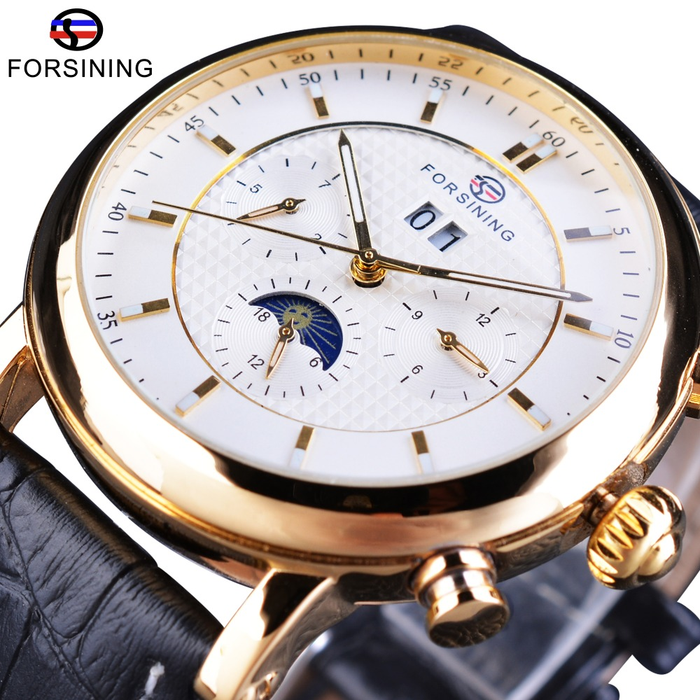 Forsining White Golden Moon Phase Design Calendar Display Fashion Luxury Genuine Leather Men Automatic Watches Top Brand Luxury-in Mechanical Watches from Watches    1