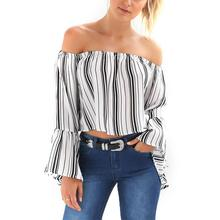 Yfashion Striped Sexy Blouse Women Summer Off Shoulder Ruffles Pagoda Sleeve Stripe Blouses Cotton Fashion Lady Blouse Famale
