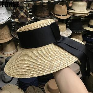 Image 2 - Natural Women Sun Hats Black Ribbon 9cm 13cm 15cm Flat Top Large Wide Brim Straw Hats Straw Hat Chapeu Sombrero Beach Hats