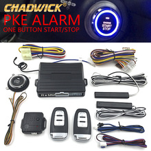 12v Universal PKE Car Alarm System with Engine Start Stop Push Button & Engine Start passive Keyless Entry system CHADWICK 8003 недорого