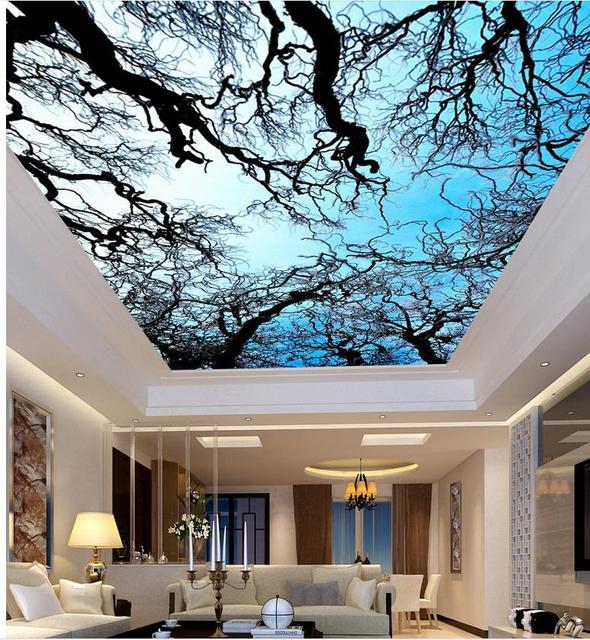 Mural 3d behang aquarel boom sky plafond woonkamer custom 3d mural ...