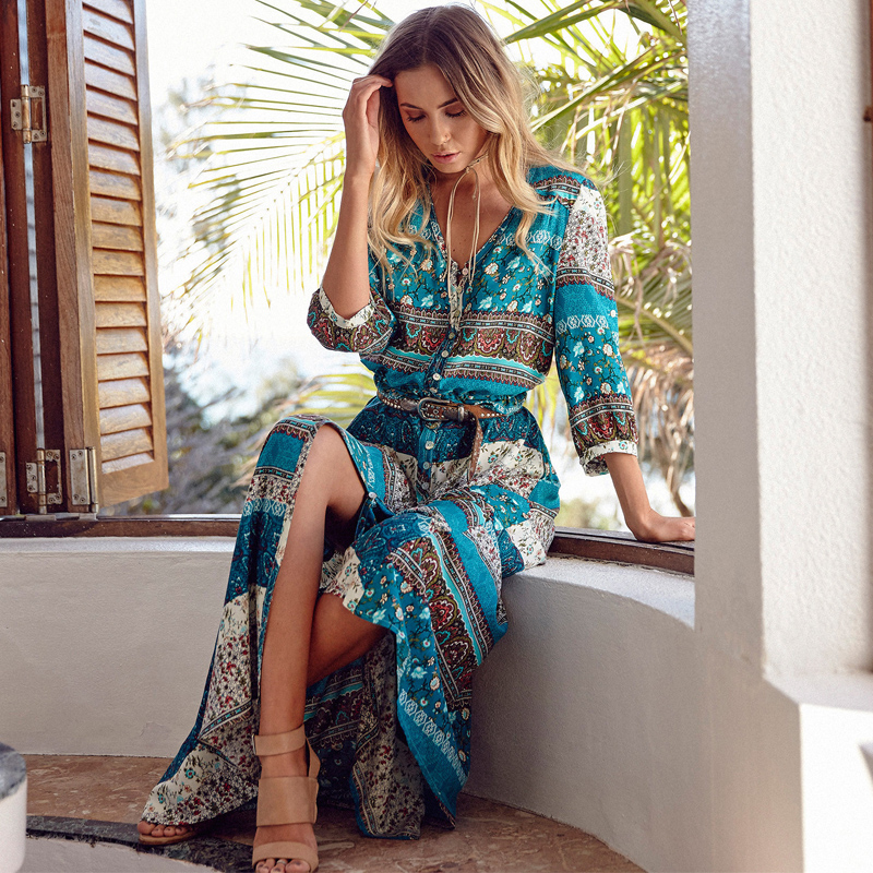 New Boho Dress Chic Floral Print Maxi Long Desses V Neck