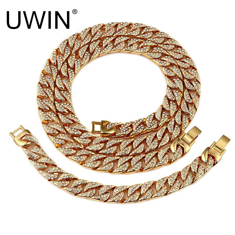 UWIN Iced Out Curb Miami Cuban Bracelet Necklace Set 8