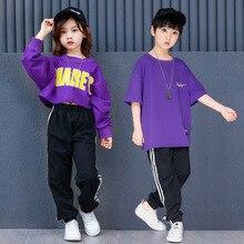 Дети Джаз Одежда для танцев хип-хоп костюм Костюмы для девочек и мальчиков сценический костюм для танцев детские свободные рубашки наряды