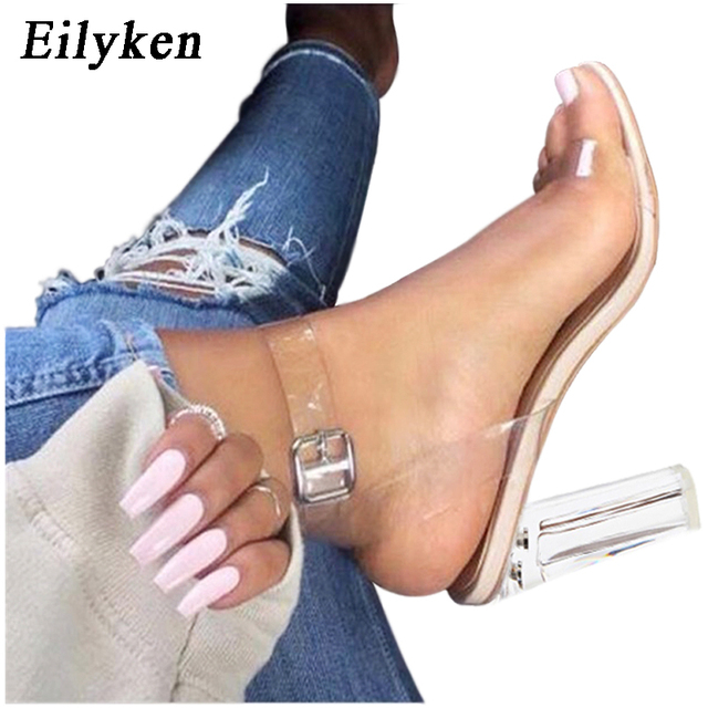 Eilyken 2019 года; прозрачные сандалии из пвх; Леопард с кристаллами; открытый носок; Высокий каблук; женские босоножки на прозрачном каблуке; шле...