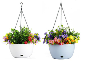 Image 4 - Plastic Hanging Basket Flower Pot Holder With Chain Succulent Plants Vase Round Shape Colorful Gardening Potted Home Decoration