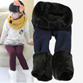 2017 winter fur girls leggings children pants kids thick warm elastic waist colorful plus velvet leggings pants kids