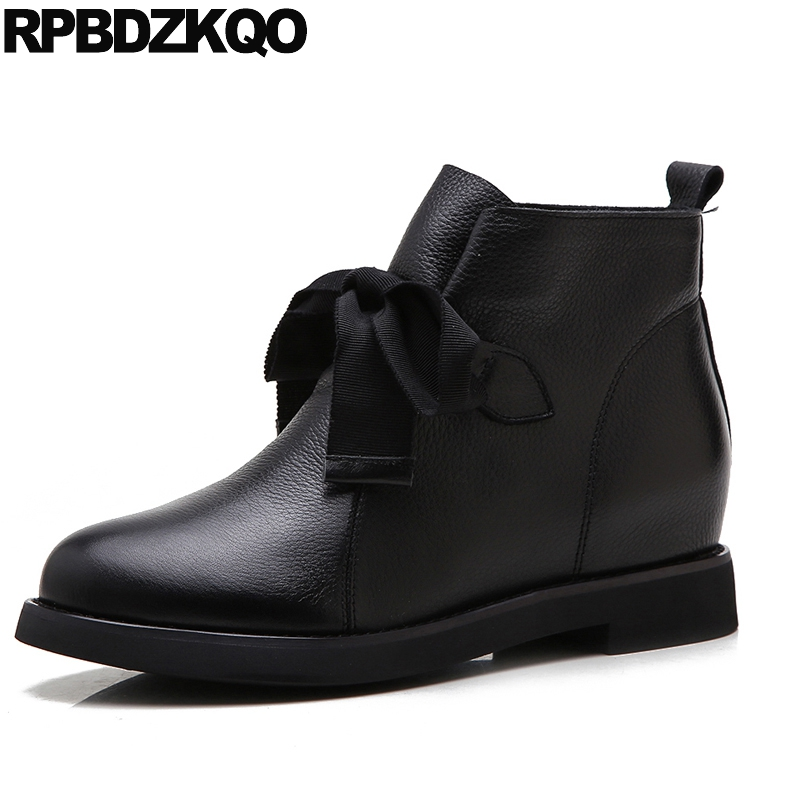 Lace Up Booties Ankle Round Toe Bow High Quality Black New Flat Brand Women Winter Boots Genuine Leather Fur Shoes Chinese 2017 designer luxury designer shoes women round toe high brand booties lace up platform ankle boots high quality espadrilles boot
