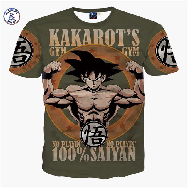 Mr.1991INC&Miss.GO Summer  Men's Dragon Ball T shirt Men Naruto 3D T Shirt Cartoon Anime Dragon Ball Print T-shirt