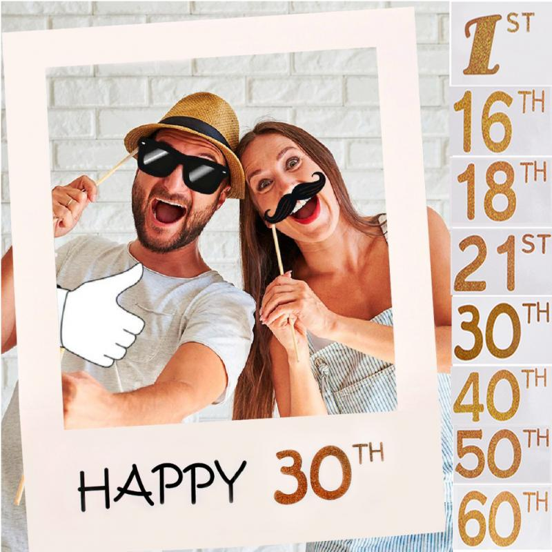 Happy 1/16/18/<font><b>30</b></font>/35/<font><b>40</b></font>/50/60th <font><b>Photo</b></font> Booth <font><b>Frame</b></font> Happy Birthday Photobooth Props Baby 1st Birthday Party Decoration <font><b>Photo</b></font> Booth image