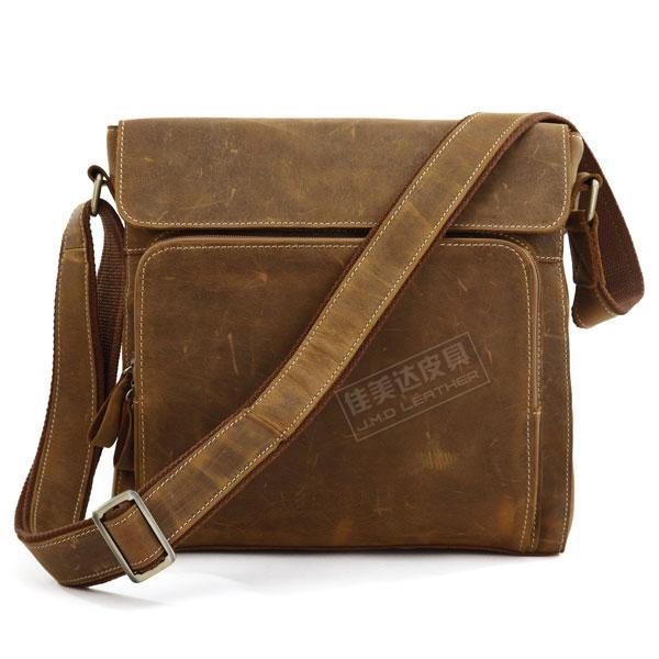 HOT SALE! Genuine Leather Classic vintage cowhide crazy horse leather male Medium shoulder bag messenger bag 7051b-1