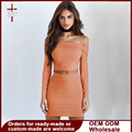2 Piece Set Women Bodycon Crop Top And Skirt Set With Slash Neck Off Shoulder Long Sleeve Solid Blouse And Mini Skirt For Party