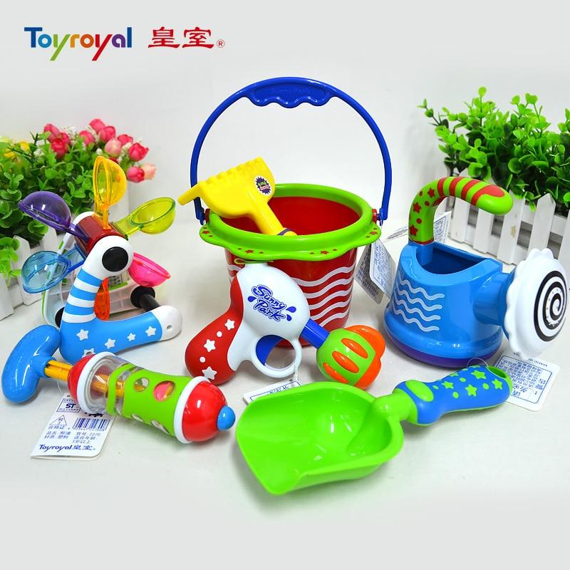 7 st / del Super Kombination Japansk Kvalitet Färgrik Vattenpistol Spela Glädje Babybadleksaker och Kids Sandskovel Spela Branded Toy