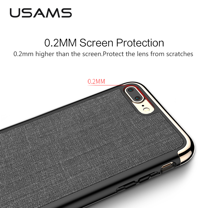 USAMS Elegant series anti-broken Case for iPhone 7 case 4.7''& 5.5'' Ectroplating PC soft PU for iPhone 7 plus case phone case