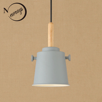 Simple modern pendant light LED E27 loft country wooden hanging lamp with 11 colors for home dining room restaurant parlor cafe