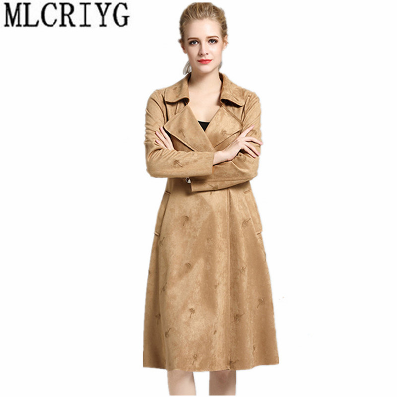 2019 New Faux   Leather   Jackets Women Slim Long Trench Coat Female Spring   Suede   Jacket Women's Windbreaker chaqueta mujer YQ054