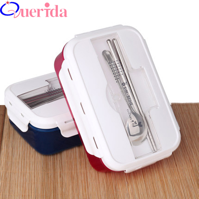 Creative Students Sub-grid Microwave Large Plastic Square Three Crisper Dinner Plates Bento Box Heated Lunch Box Food Container