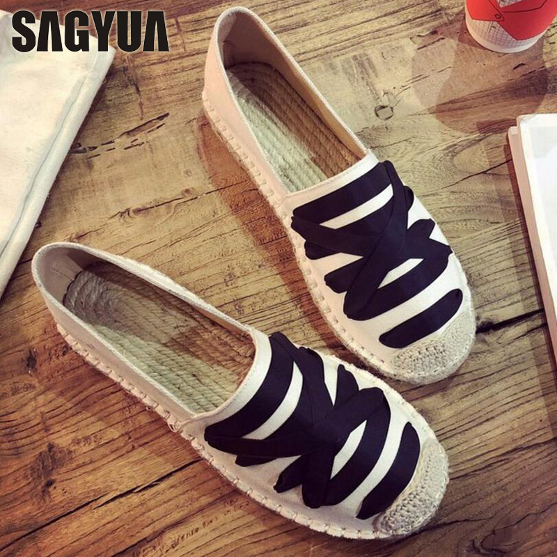 SAGYUA Mujer Flat Lady Woman Fisherman Weave Fashion Spring Female Soft Plimsolls Zapatillas Casual Loafers Shoes Moccasins T358