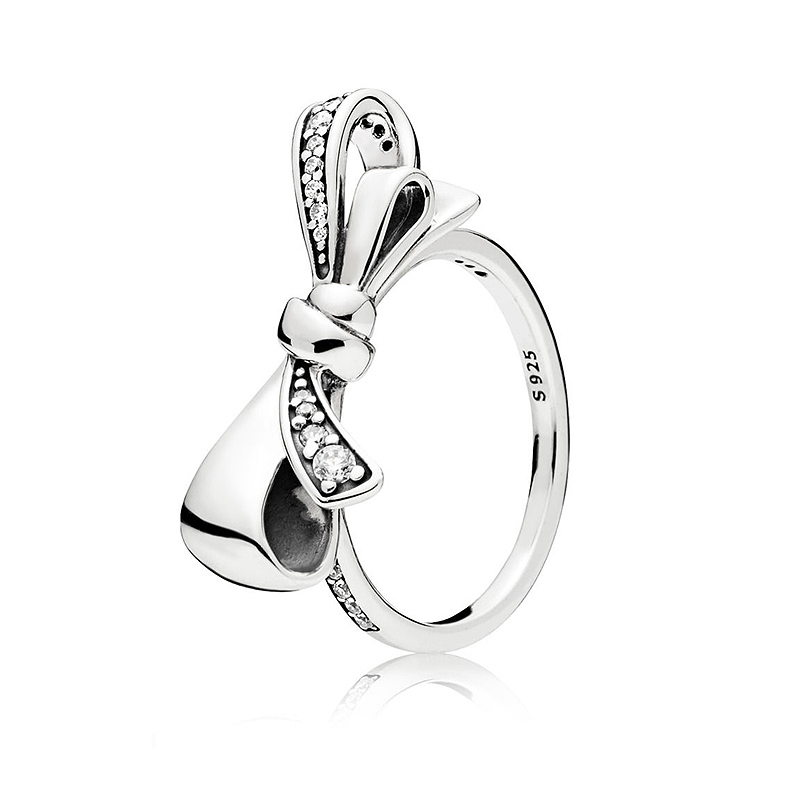 Authentic 925 Sterling Silver Ring Brilliant Bow With Crystal Rings For Women Wedding Party Gift Fine Pandora Jewelry