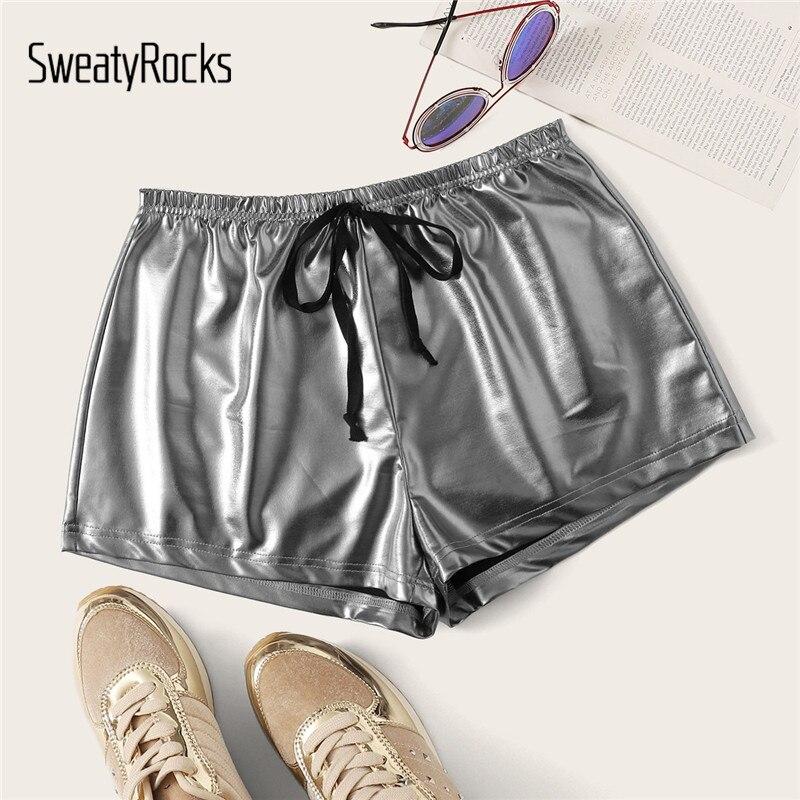 SweatyRocks Silver Drawstring Waist PU Shorts Streetwear Straight Leg Shorts 2019 Fashion Summer Glamorous Women Shorts