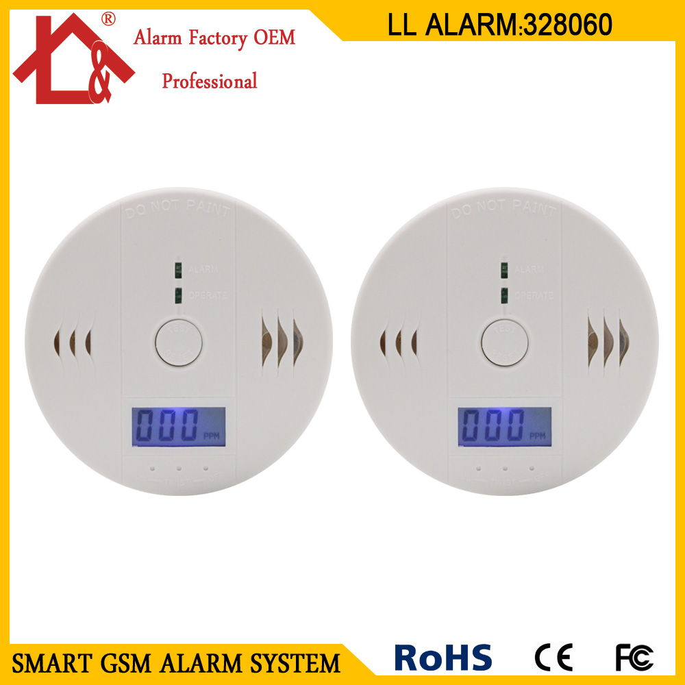 2PCS  LCD CO Sensor Work Alone Built-in 85dB Siren Sound Independent Carbon Monoxide Poisoning Warning Alarm Detector(China)