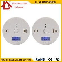 2 шт. ЖК-датчик со работает один встроенный 85 дБ сирена звук независимый Угарный газ травления Предупреждение ющий сигнал детектор