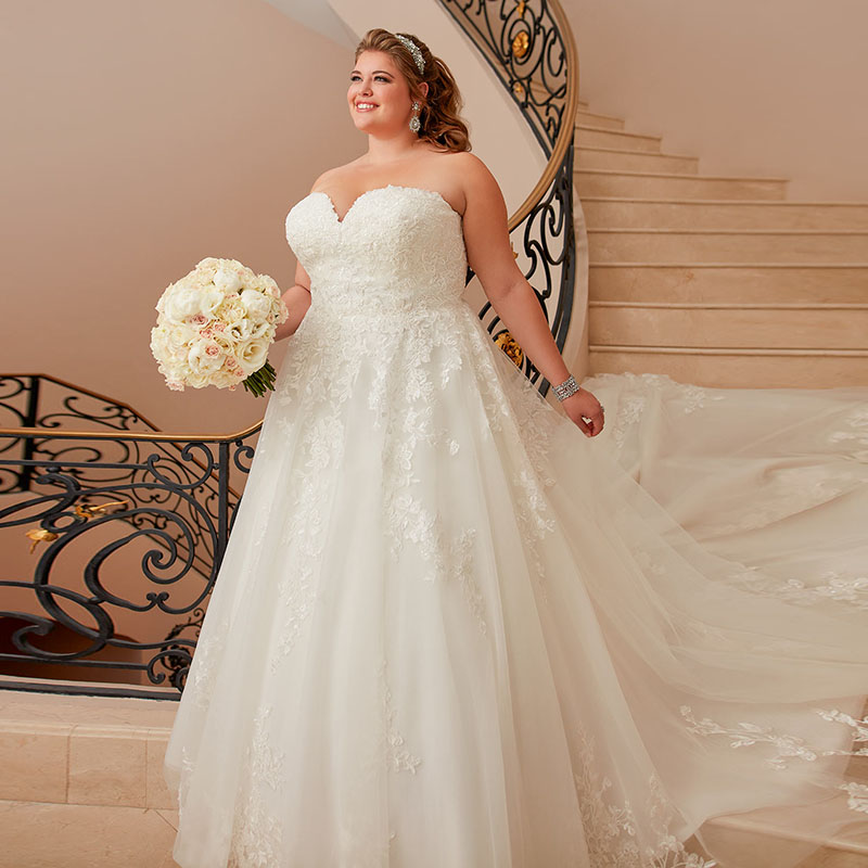 Ivory Wedding Gowns: Eightale Plus Size Wedding Dresses Sweetheart Appliques